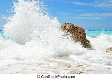 hoog, groot, water nevel, gespetter, zee
