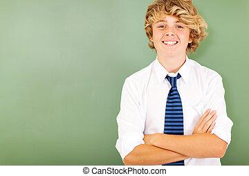 hoog, klaslokaal, school student