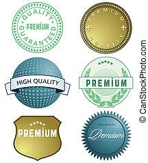 hoog, kwaliteit, etiket