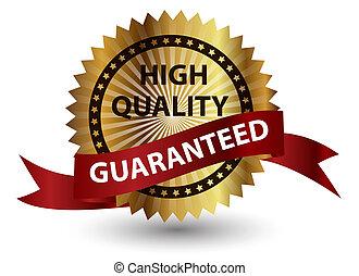 hoog, kwaliteit, label., vector, illustratie, teken.