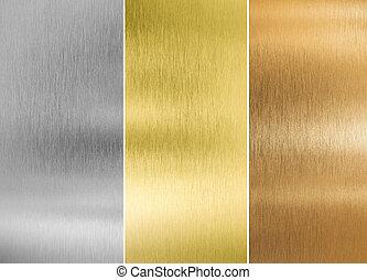 hoog, kwaliteit, zilver, goud, en, brons, metaal, texturen