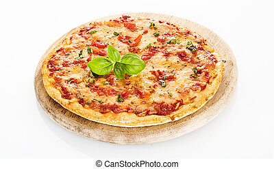 hoog, margherita pizza, hoek, aanzicht
