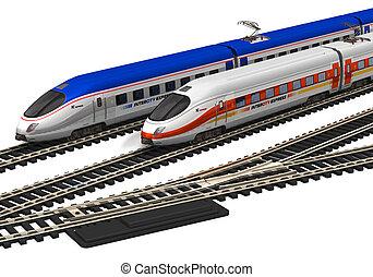 hoog, miniatuur, snelheid, treinen
