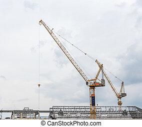 hoog, moderne, crane.