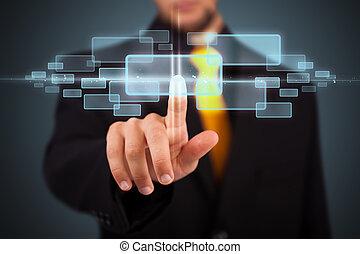 hoog, moderne, knopen, dringend, technologie, zakenman, type
