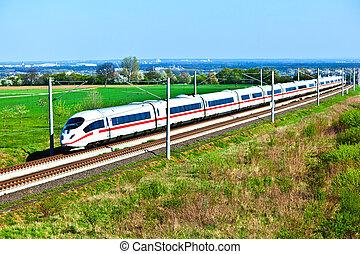 hoog, open, trein, snelheid, gebied