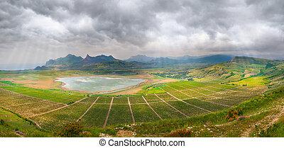 hoog, panorama, wijngaarden, rots