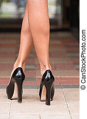 hoog, paver, heels, black , blok