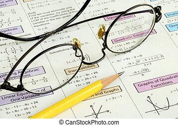 hoog, potlood, school, enig, wiskunde
