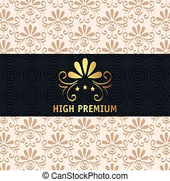 hoog, premie, frame, kwaliteit, gouden