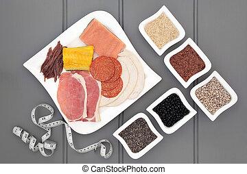 hoog, proteïne, dieet voedsel