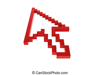 hoog, richtingwijzer, pixel, rood, 3d