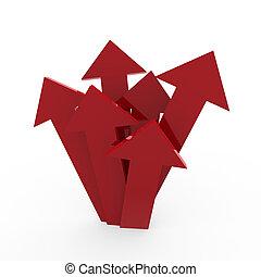 hoog, richtingwijzer, rood, 3d