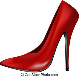 hoog, rood, hiel, schoen