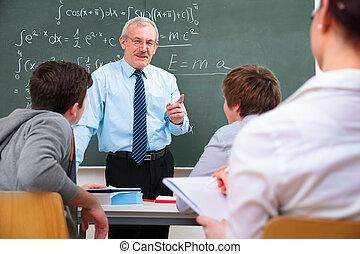 hoog, scholieren, de leraar van de school