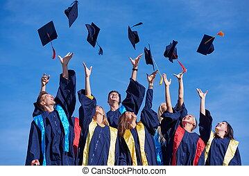 hoog, scholieren, school, afgestudeerdeen