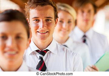 hoog, scholieren, school, groepsportret