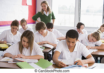 hoog, scholieren, schoolklas