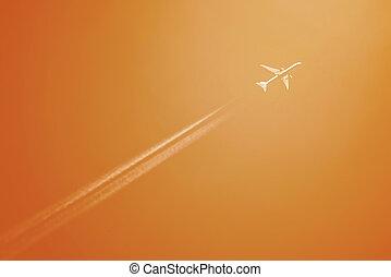 hoog, sporen, hoogte, lijnvliegtuig, condesation, witte
