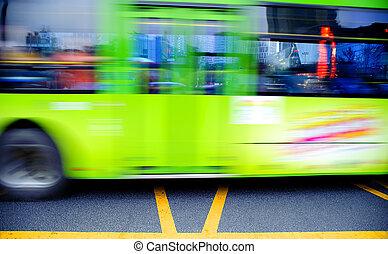 hoog, sporen, vaag, downtown, bus, snelheid, straat