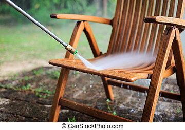 hoog, straalvliegtuig, houten, waterdruk, poetsen, stoel