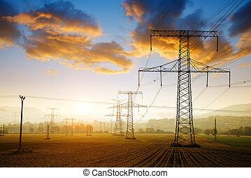 hoog, sunset., spanning, mogendheid pylon