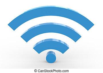 hoog, teken., wifi, signal., 3d