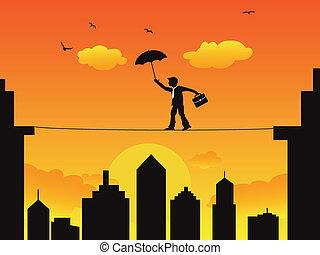 hoog, tightrope lopen, draad, zakenman