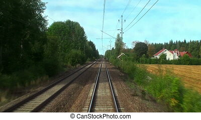 hoog, trein, snelheid, geleider