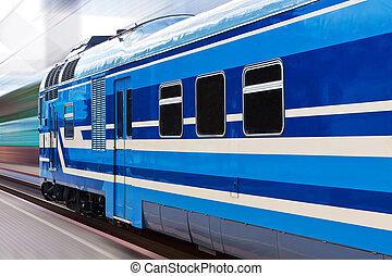 hoog, trein, snelheid