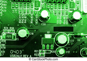 hoog, uitrusting, computer tech