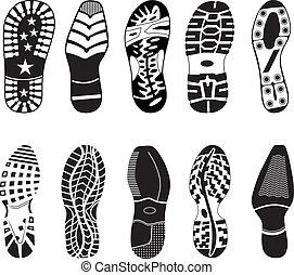 hoog, voetspooren, detail, verzameling, schoen