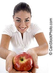 hoog, vrouw, hoek, appel, aanzicht