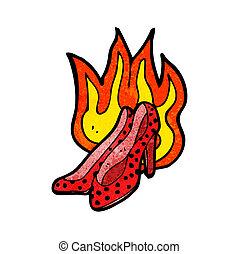 hoog, warme, het vlammen, schoentjes, hiel