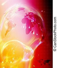 hoog, wereld, technologie, kaart