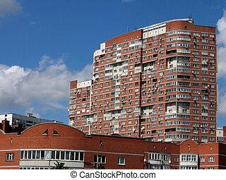 hoog, woning, rood