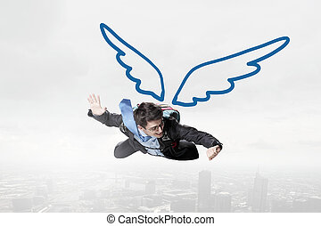 hoog, zakenman, vliegen