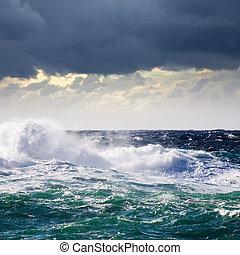 hoog, zee, golf, gedurende, storm