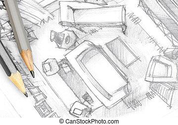 Levend, schets, kamer, hand, interieur, gereedschap,... stockfoto ...