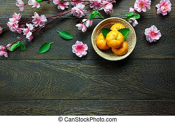 hoogste mening, sinaasappel, mand, blossom , op, tafel,...