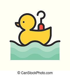 Hook a duck vector icon, filled outline style editable stroke