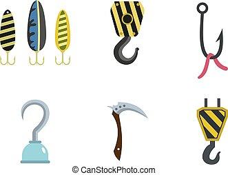 Hook icon set, flat style - Hook icon set. Flat set of hook...