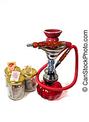Hookah and flavours - Small Hookah and flavours isolated on...