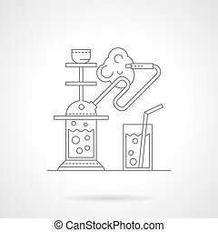 Hookah cafe detailed line vector illustration - Abstract...