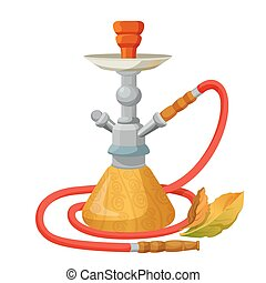 Hookah calabash with one long red pipe isolated on white....
