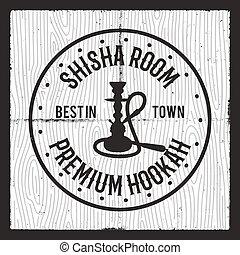 Hookah card design layout. Shisha silhouette logo. Relax label, badge. Vintage poster. Lounge cafe emblem. Arabian bar or house, shop. Stock vector illustration isolated. Monochrome design.