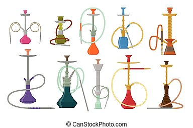 Hookah flat set with pipe for smoking tobacco and shisha. Collection isolated on white background