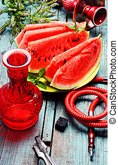 Hookah flavor watermelon - Still life with slices of ripe...