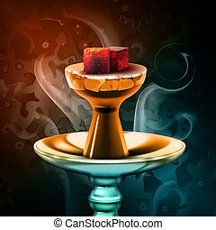 Vector hookah hot coals on shisha bowl with steam on colorful background close up front view