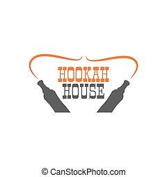 Hookah house label, badge. Vintage shisha logo. Lounge cafe emblem. Arabian bar, shop. Isolated. Stock vector illustration